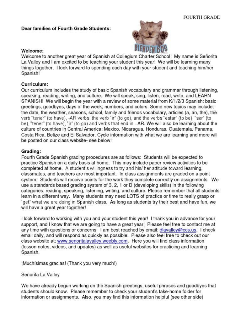 Back To School Letter 4th Spanish Language Central America