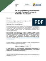 Calibración termometro según Callendar Van Dusen INM