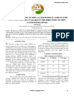 An Analytical Study of Open Access Books in Agriculture and Food Sciences Available in the Directory of Open Access Books (Doab)