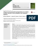 Influencia del propranolol preoperatorio en el índice cardíaco durante la fase anhepática del trasplante hepático
