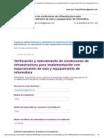 Verificación y Relevamiento de Condiciones de Infraestructura Para Implementación Con Mejoramiento de Sala y Equipamiento de Informática