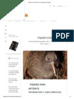 Pájaro Kiwi - Información y Características - Biología