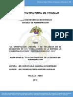 Satisfaccion Laboral y Su Influecia en El Desempeño de Los Trabajadores -PERU