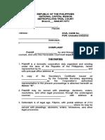 Unlawful Detainer Complaint