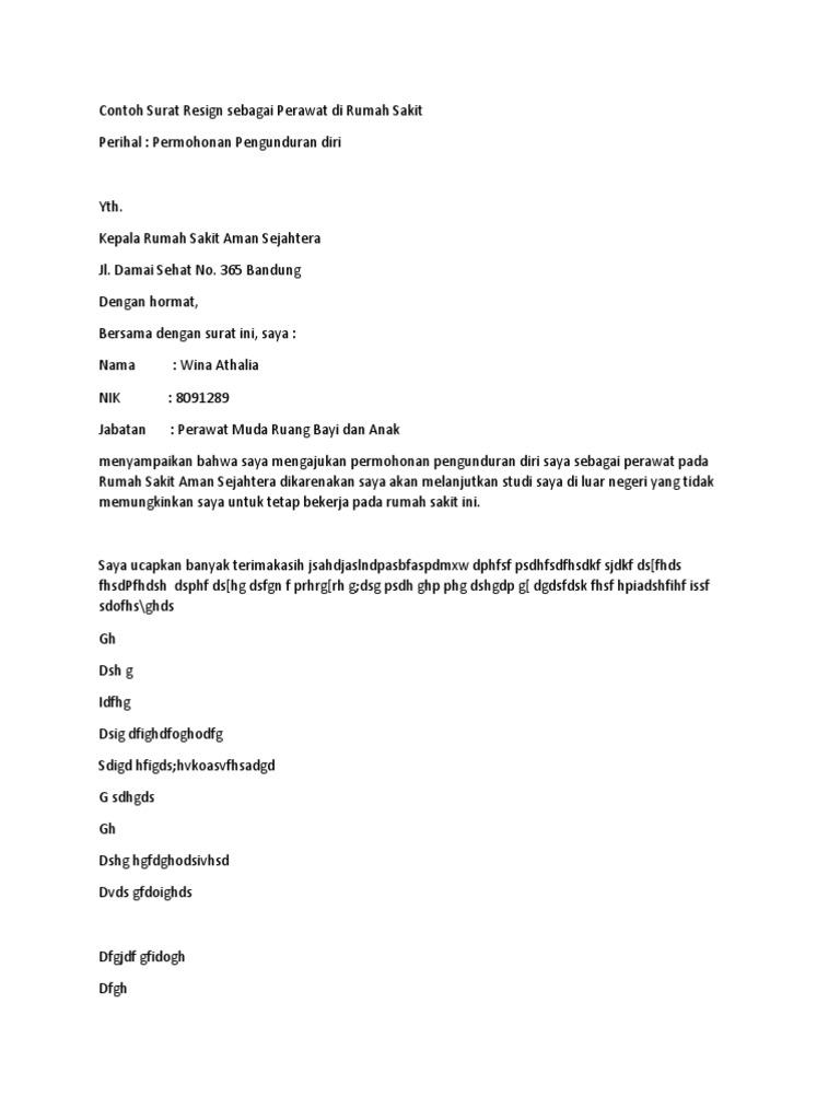 Contoh Surat Resign Simple Doc