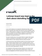Lehman Board Was Kept in the Dark About Dwindling Liquidity - Risk