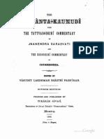 Siddhanta Kaumudi With Skt Commentary - Pansikar 1908