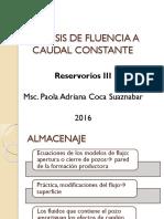 Análisis de Fluencia a Caudal Constante