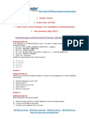 1Z0-062 Exam Dumps With PDF and VCE Download (1-30) | Oracle