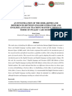 An Investigation of the Similarities and Differences Between English Literature and English Language Teaching Masterγçös Theses in Terms of Swalesγçö Cars Model