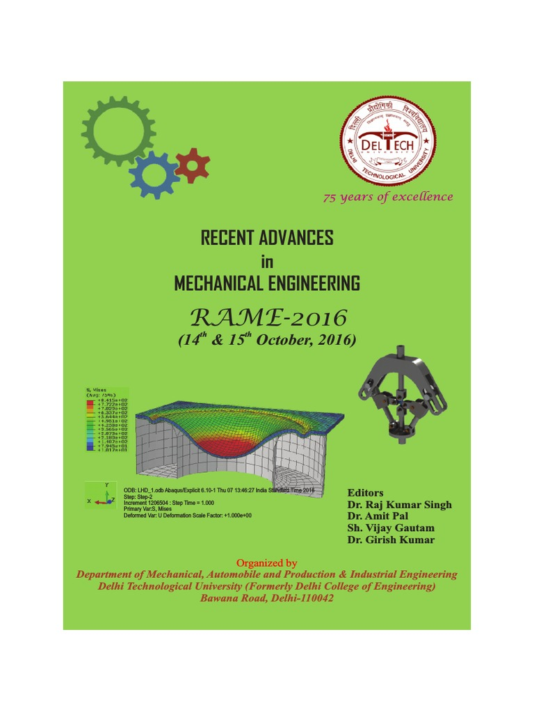 RECENT ADVANCES in MECHANICAL ENGINEERING (RAME-2016