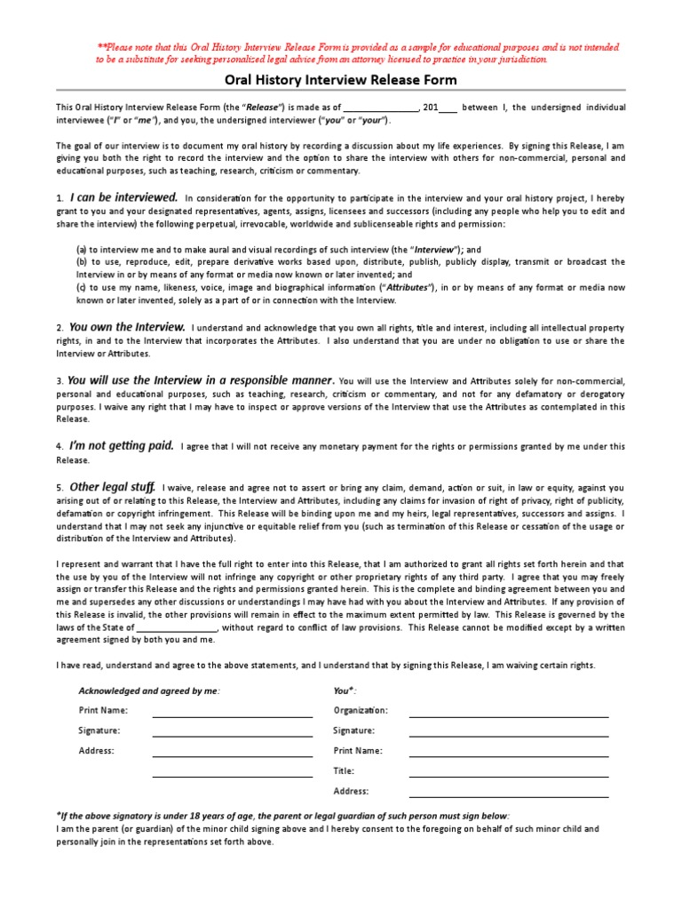 Great Oral History Interview Sample Release Form En | Oral History | Equity (Law)