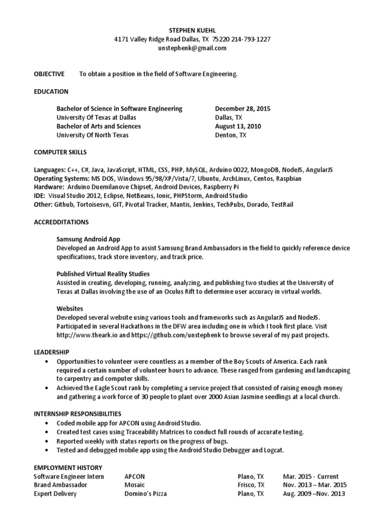 Software_Engineering_Resume pdf | Eclipse (Software