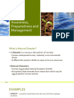 Disaster Awareness, Preparedness and Management