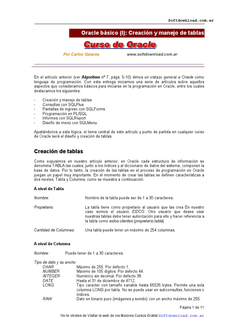 Manual De Oracle Y Pl Sql