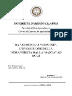 Tesi laurea ndrangheta G. Fulco