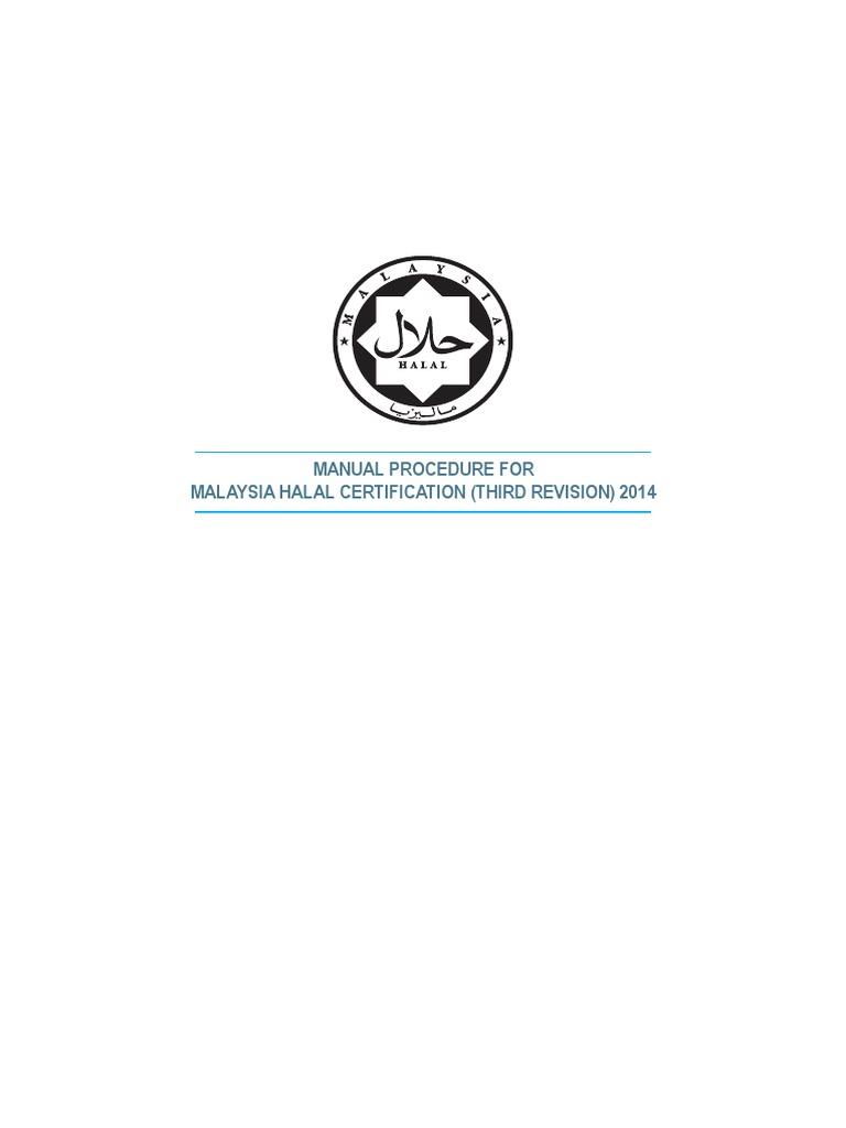 Manual Procedure For Halal Certification Pdf Foods