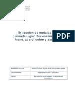 Muñoz - Extracción de Metales Por Pirometalurgia- Procesamiento de Hierro, Acero, Cobre y Aluminio