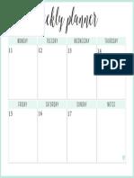 Sea - Weekly Planner - Landscape - Setembro 11 a 17