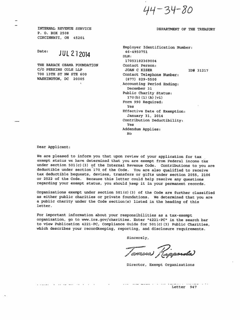 Barack Obama Foundation Irs Determination Letter July 21 2014 | 501 ...