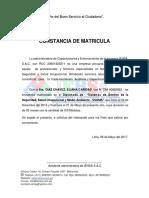 Modelo Constancia de Matrícula