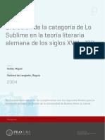 Evolución de la categoría de lo sublime en la teoría literaria de los siglos XVIII y XIX