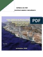 Caracteristicas Metalogéneticas de Los Yacimientos Asociados a Los Arcos Magmáticos Mesozoicos Del Sur Del Perú Latitudes 16-14