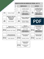Oferta de Materias Orientacion en Derecho Penal 2017 2
