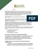 AHPA Guidance Policies