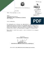 Solicitud Del Presidente de La Republica Para Que La Asamblea Nacional Apruebe El Acuerdo Entre La Republica Del Ecuador y La Republica de Singapur Para Evitar La Doble Tributacion y01!10!2014