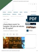 ¿Tenía Marx razón? Se Cumplen 150 Años de Edición de El Capital