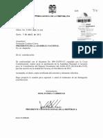 Solicitud Del Presidente de La Republica Para Que La Asamblea Nacional Apruebe El Acuerdo Para La Constitucion Del Espacio Economico Del Alba-tcp Ecoalba-tcp 05-04-2013