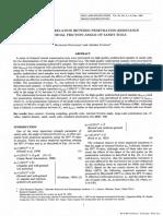 Empirical correlation between penetration resistance and internal friction