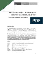 Programa Nacional Monitoreo de Contaminantes en Alimentos Agropecuarios Primarios y Piensos