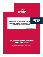 Research Student Assessment Policies and Procedures Handbook OCT 2016