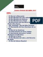 Calendario Abril 2017