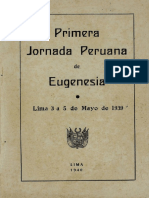 Primera Jornada Peruana de  Eugenesia 1939