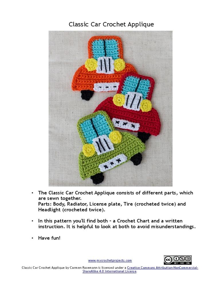 Classic Car Crochet Embellishment [FREE Crochet Pattern]   1024x768