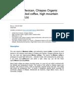 ejemplo de descripción de café en inglés