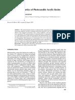 Polymerization Kinetics of Photocurable Acrylic Resins