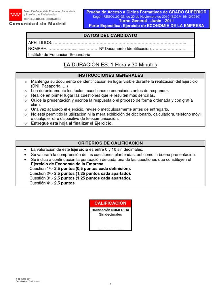 Examen Economia De La Empresa Grado Superior Madrid Junio