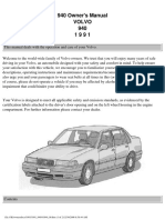 Volvo 940 Owners Manual 1991