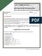 ACTIVIDAD ESPECIAL DE RECUPERACIÓN FACTORIZACIÓN (9°)