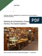 Ranking de Comentarios_ Evangelios y Hechos. Por Daniel Caballero. – Semper Reformanda Peru