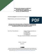 """""""Estudio de Factibilidad Para La Creación de Una Empresa de Producción de Alimentos Sin Gluten en La Industria de Elaboración de Pan Del Municipio Baruta"""