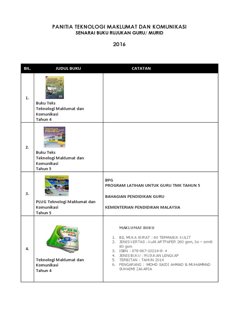 Buku Teks Pdf Kssr Tahun 5 Teknologi Maklumat Dan Komunikasi