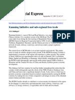 Kunming Initative and Sub-regional Free Trade