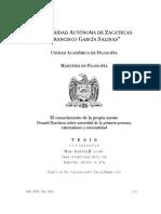 Jiménez (2012) Donald Davidson Sobre El Conocimiento de La Propia Mente