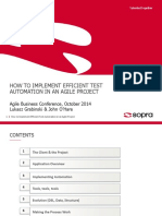 How to Implement Efficient Test Automation on an Agile Project Lukasz Grabinski John OHare