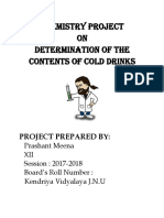 Chemistry Project On Determination Of The Contents Of Cold Drink Class 12
